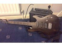 ibanez electric walnut guitar with all equipment
