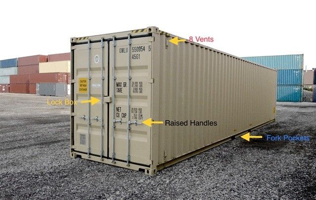 """40ft (8´6 high) New """"One-trip"""" shipping container, Jacksonville, Florida"""