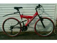 American lightweight hybrid dual suspension bike