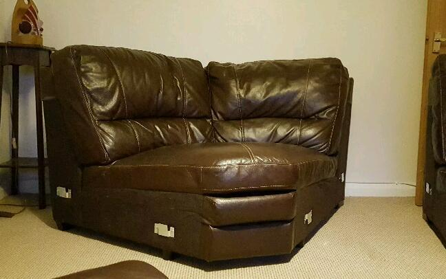 Furniture Village Memphis Sofa Corner Unit Brown Leather
