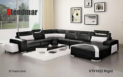 Modern Euro style leather sectional sofa set -