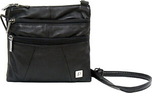 NWT-Genuine-Black-Leather-Crossbody-Passport-Sling-Pack-Messenger-Purse-Bag