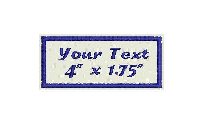 """Rectangular Custom Embroidered Name Tag,  Iron on  or Sew on Patch 4"""" x 1.75"""""""