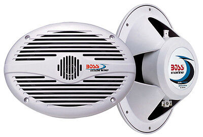 "2) NEW BOSS MR690 6x9"" 2-Way 350W Marine/Boat Audio Speakers Stereo - White on Rummage"