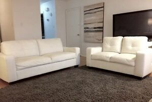 ***2 WHITE FAUX LEATHER COUCH SET***