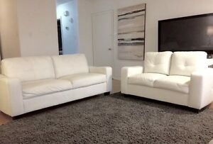 *2 PIECE WHITE FAUX LEATHER SOFA SET NEED GONE ASAP***