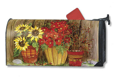 Fall Flowers Mail Box Wrap Autumn Basket Magnetic Mailwrap Mailbox Cover