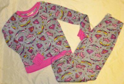 DC SuperHero Girls Gray Pink Fleece Wonder Woman Supergirl PJS Pajama Set Size L