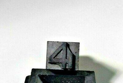 Antique Letterpress Print Block Lead Number 4 Stamp Character Type Set