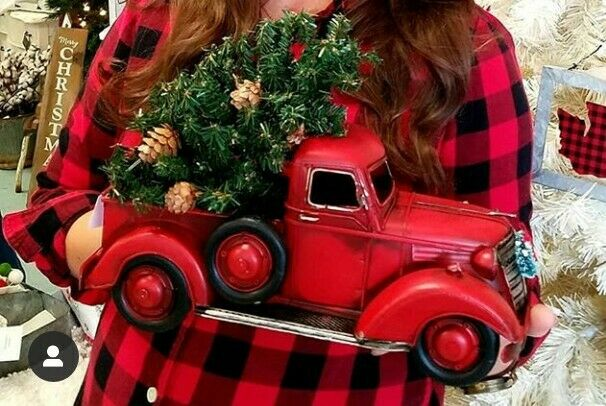 Red Truck With Christmas Tree