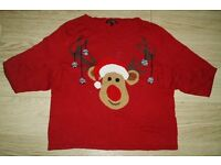 Ladies NEXT Christmas Reindeer Jumper Size 12 Petite Like New