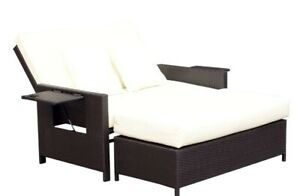 Rattan Chaise Lounge and Ottoman Set with Drink Holder BNIB