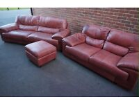 HALO John Lewis Aniline Leather Sofa Suite Extra Large and Large with Footstool
