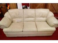 Cream Leather Sofa three piece