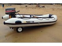Yam 380s Inflatable Rib With Mariner 20hp Outboard