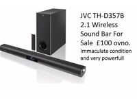 JVC TH-D357B 2.1 Wireless Sound Bar. Immaculate condition. very powerfull. with remote and box