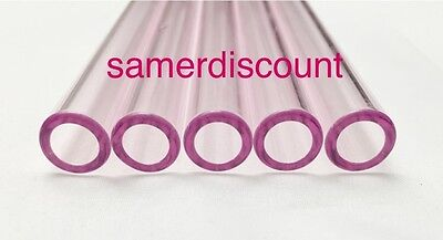 """5 Piece 8"""" Pink-Pyrex-Glass-Blowing-Tubes-12-mm-OD Tubing Thick Colored Tube"""