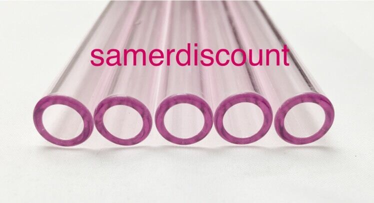 """как выглядит 8"""" Pink-Pyrex-Glass-Blowing-Tubes-5 pieces 12mm-OD Tubing Thick Colored Tube фото"""