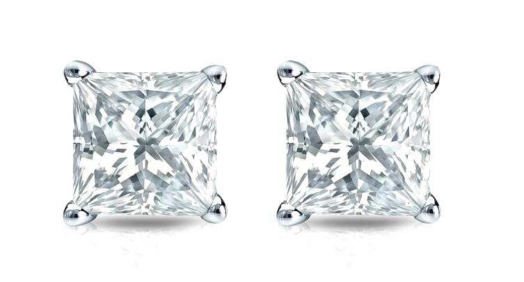 1/2 Ct Diamond Stud Earrings Princess Cut Mens Womens Earrings 14K White Gold