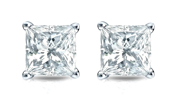 $14.99 - 1/2 Ct Diamond Stud Earrings Princess Cut Solitaire Earrings 14K White Gold