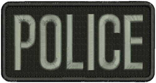 POLICE embroidery patch 3x6 hook grey letters