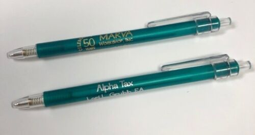 CLEARANCE - Pk of 50 Green Click Pens - Gold or Silver Lettering - 20% Off!!