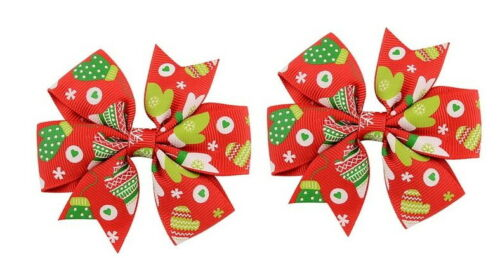 Beautiful Cloth Christmas Hair Accessories for baby girls 2 pieces Free Shipping