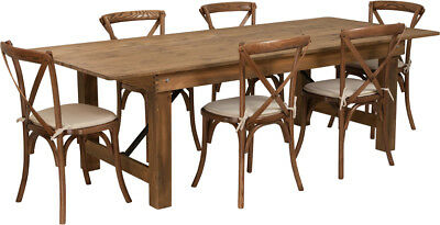 8 X 40 Antique Rustic Folding Farm Table Set W6 Cross Back Chairs Cushions