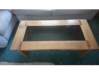 Large Solid Oak Coffee Table with glass insert VGC £30