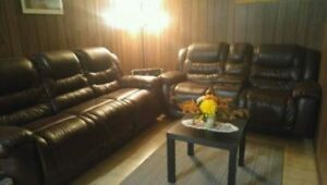 LEATHER SOFA & LOVE SEAT RECLINER SET