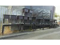 Large selection of dark walnut tables/desks + bedside lockers + lamp tables