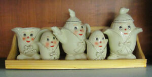 Vintage Anthropomorphic Corn Cob Face Figures