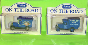 Two Tetley Tea Promotion Diecast Vans with  Boxes