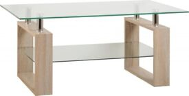Milan Coffee Table -Sonoma Oak Effect & Glass - New Flatpacked - £48