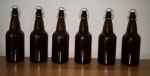 1 LITRE FLIP-TOP BROWN BOTTLES (6-pack)