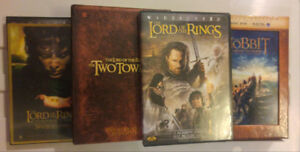 3 Lord of the Ring Movies and The Hobbit DVDs