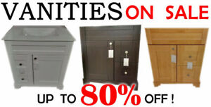 SOLID WOOD VANITY / CABINET / TOPS, MIRRORS, TUBS - FLOOR MODELS