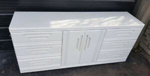 White Custom 6-Drawer Dresser with Middle Cabinet