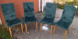 Set of 4 suede dining chairs, can deliver