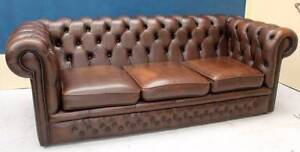 Genuine Leather Lounge SMOKED BROWN CHESTERFIELD 3 Seater SOFA Noble Park Greater Dandenong Preview