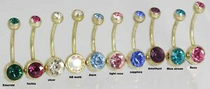 Titanium-PVD-GOLD-Double-Gem-Navel-Bars-Crystal-Belly-bars-10MM-12MM
