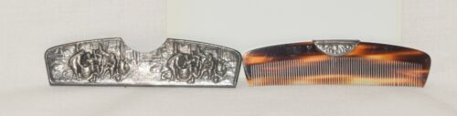 Vintage Hair Comb with ORNATE Metal Case Made in Denmark Silver plate