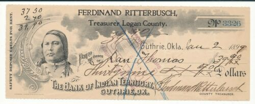 Ferdinand Ritterbusch Logan County Bank of Indian Territory Cancelled Check