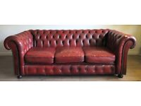 Red Chesterfield sofa (leather)