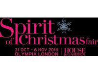 Tickets to SPIRIT OF CHRISTMAS FAIR Olympia, London - valid any one day