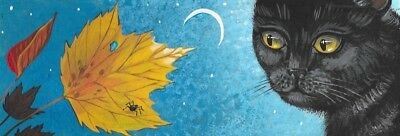 12X4 PRINT OF PAINTING RYTA BLACK CAT MAPLE LEAF SPIDER HALLOWEEN AUTUMN NIGHT - 12 Nights Of Halloween