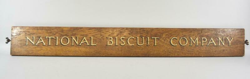 Antique National Biscuit Company Oak Advertisement / Display Rack Detail