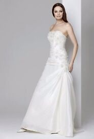 Strapless Satin Crystal Rosetta Nicolini Dress Size 8-10