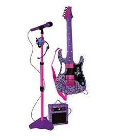 Children's microphone and electric guitar and amplifier set
