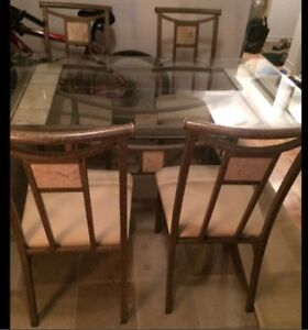 Glass Top Dining Table With 4Chairs, Excellent Condition